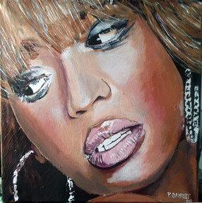 portrait de Beyonce Knowles à la peinture acrylique