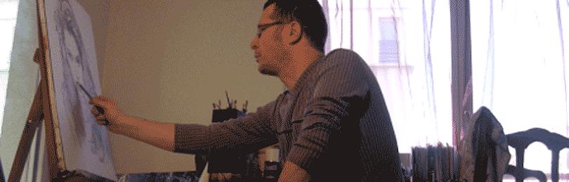 le portraitiste dans son atelier