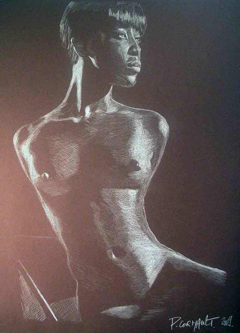 Portrait de Naomi Campbell au crayon blanc sur papier brun