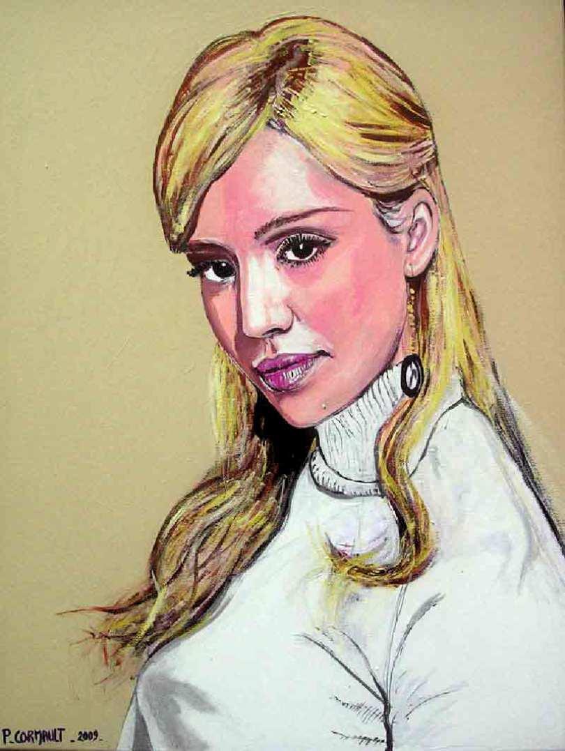 portrait de Jessica Alba à la peinture acrylique sur toile