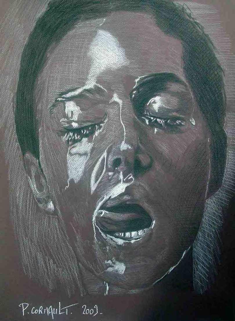 portrait de Monica Bellucci, pierre noire et crayon blanc