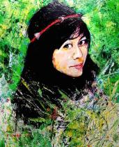 portrait de Maelys à la peinture acrylqiue
